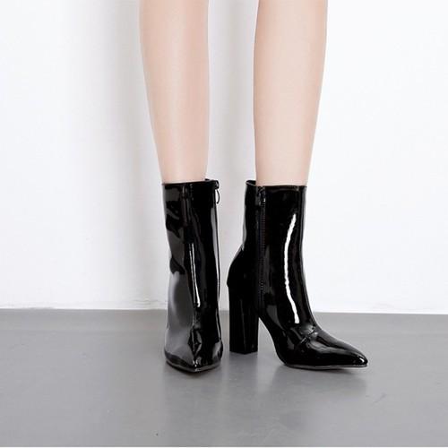 Boot nữ cổ lửng da bóng đơn giản hiện đại