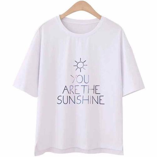 Áo thun nam nữ mặc được form rộng dưới 65kg chất thun cotton in sunshine