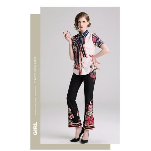 sét bộ công sở áo sơ mi cột nơ quần ống loe dài in hoa cao cấp hàng quảng châu loại 1