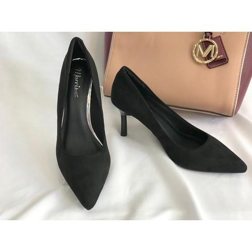 Giày gót nhọn da lộn MORRIS NEXT 8p màu ĐEN