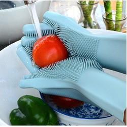 [ 01 cặp 02 cái ] găng tay rửa chén silicon có gai - đôi bao tay cao su lau chùi vệ sinh tắm thú cưng đa năng