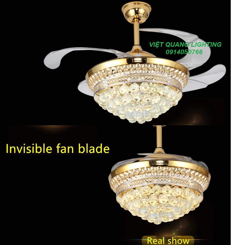 Quạt trần đèn chùm Pha lê cao cấp 8668 - Quạt trần trang trí 14