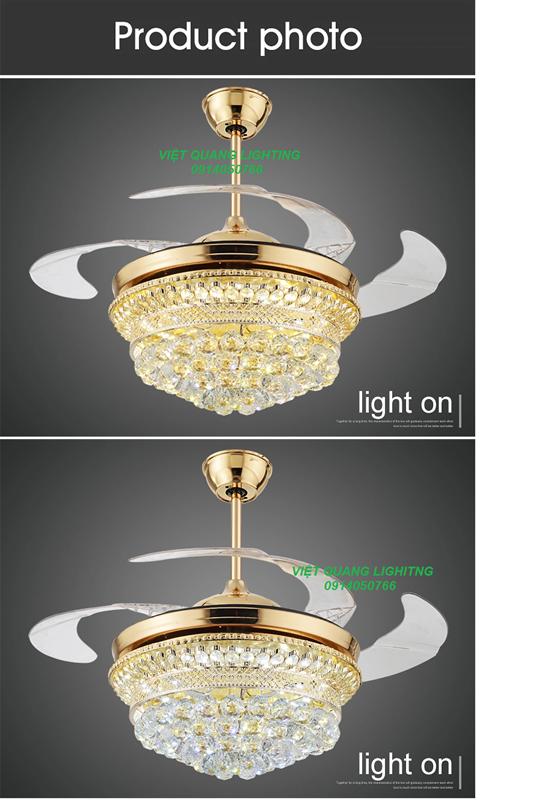 Quạt trần đèn chùm Pha lê cao cấp 8668 - Quạt trần trang trí 7