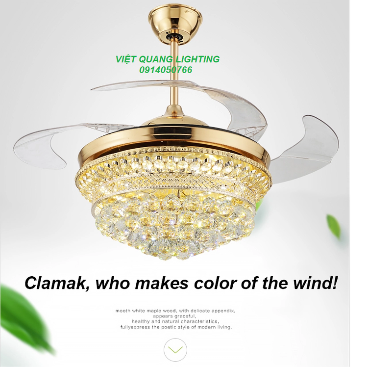 Quạt trần đèn chùm Pha lê cao cấp 8668 - Quạt trần trang trí 6