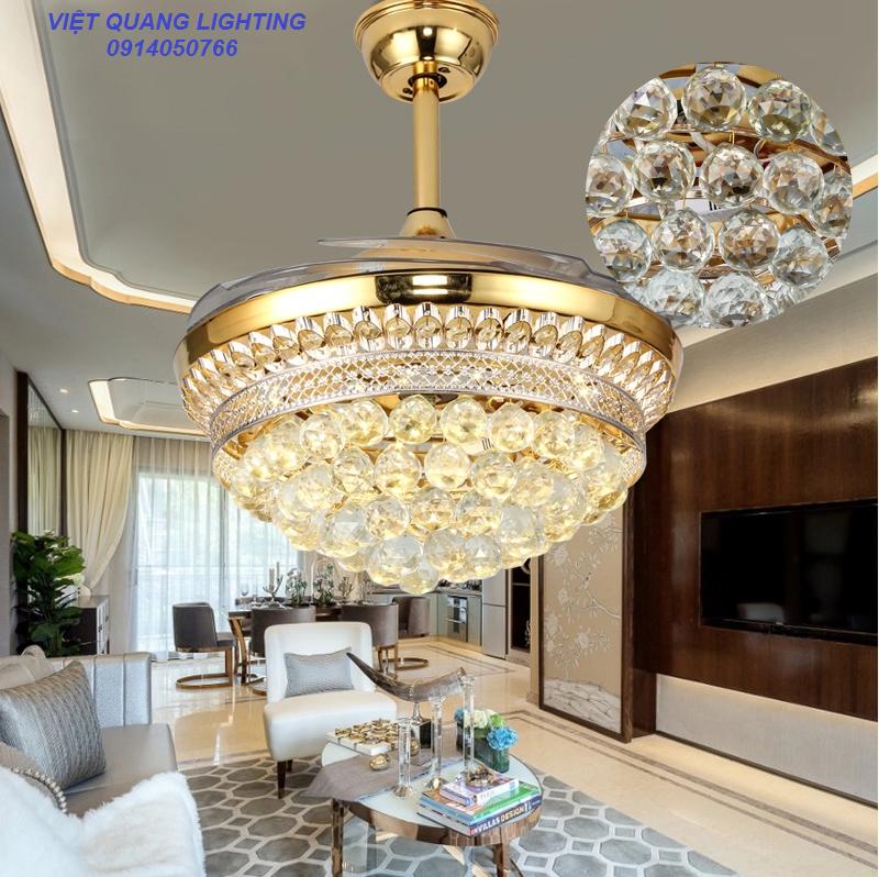 Quạt trần đèn chùm Pha lê cao cấp 8668 - Quạt trần trang trí 11