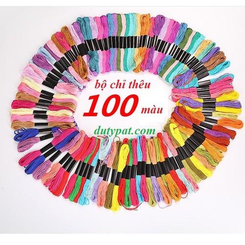 Gói 100 tép chỉ thêu 100 màu khác nhau