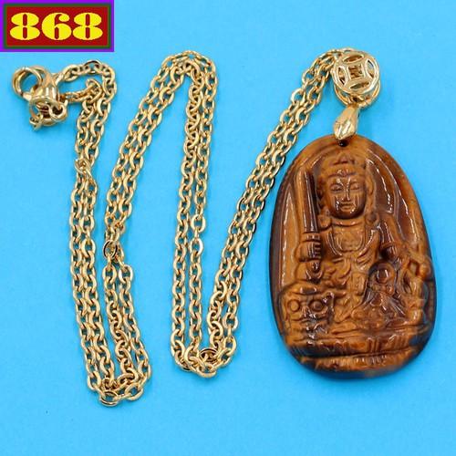 Vòng cổ phật Văn Thù Bồ Tát - đá mắt hổ 3.6cm DIVMHB3 - dây inox vàng - tuổi Mão