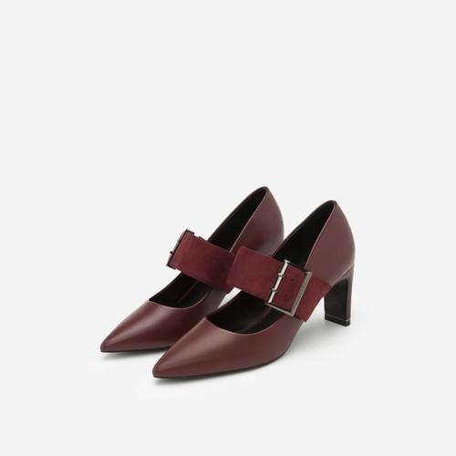 Hàng Mới Về Vascara - Giày Cao Gót Mary Janes Bản Lớn - BMN 0319 - Màu Đỏ Đậm - Vascara Chính Hãng