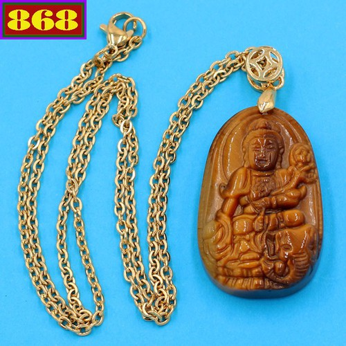 Vòng cổ mặt Bồ Tát Phổ Hiền - đá mắt hổ 3.6cm DIVMHB2 - dây inox vàng - tuổi Thìn, Tỵ