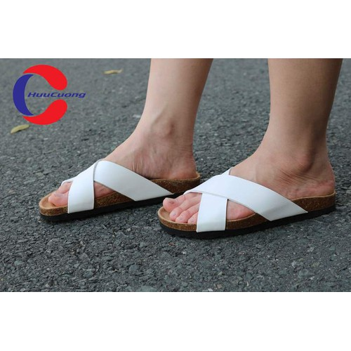 Dép sandal quai chéo trắng unisex