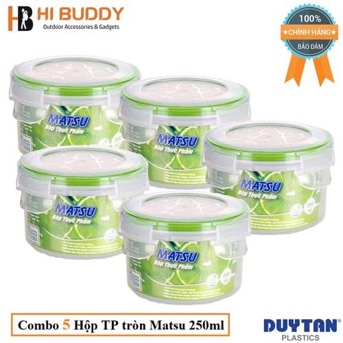 Combo 5 Hộp Nhựa Tròn Đựng Thực Phẩm Duy Tân Matsu 250ml phi 10 x 6.6 cm No.452