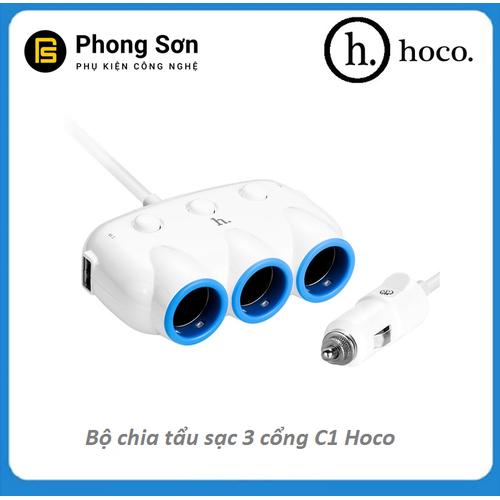 Bộ chia tẩu sạc trên Ô tô 3in1 thương hiệu Hoco C1