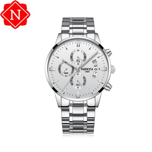 Đồng hồ nam thể thao NIBOSI chính hãng bạc - đen