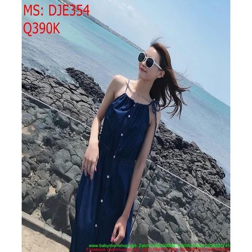 Đầm jean nữ phom dài 2 dây ôm thun eo xinh đẹp DJE354