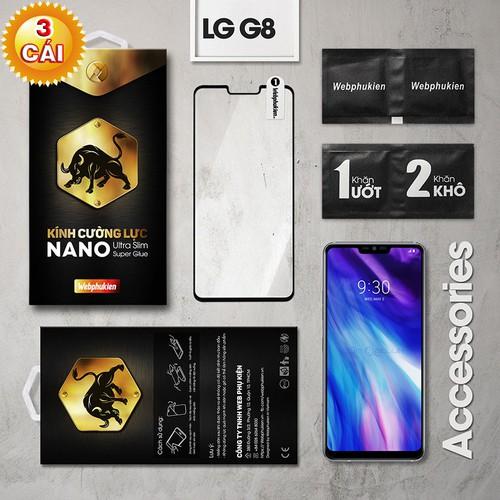 Combo 3 miếng kính cường lực LG G8 Full Webphukien đen
