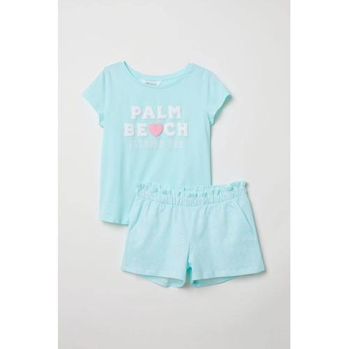 Set bộ đồ bé gái trơn màu xanh - hàng nhập Mỹ