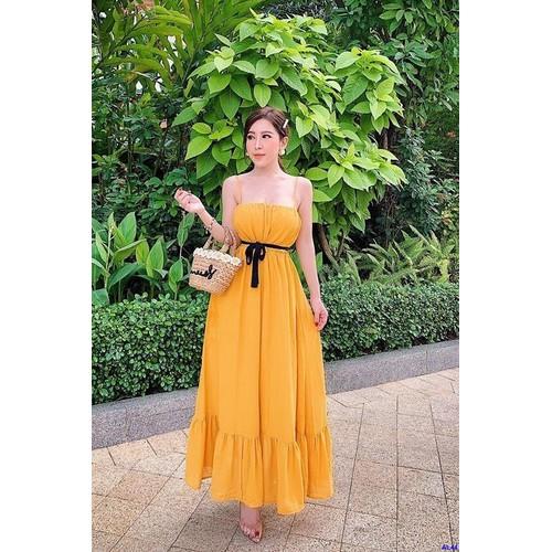 Đầm Maxi Vàng Hai Dây Cột Nơ Eo Xinh Xắn