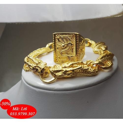 Combo Lắc tay Nhẫn rồng vàng mạ 24k