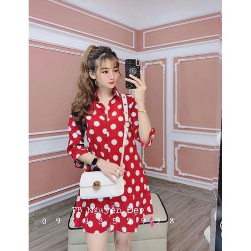 Đầm kate chấm bi