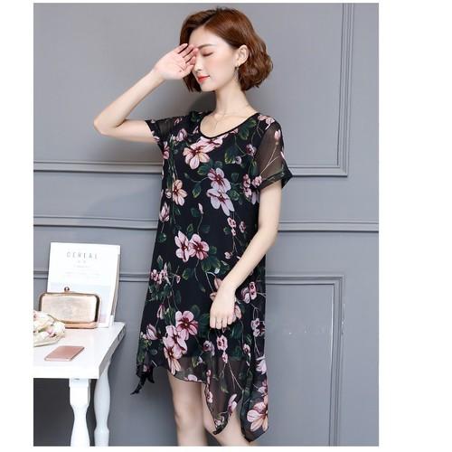 Đầm suông nữ voan họa tiết dễ thương 2D2816