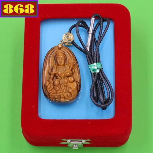 Dây chuyền mặt Phổ Hiền Bồ Tát - đá mắt hổ 3.6cm DEMHB2 - dây đen - kèm hộp nhung