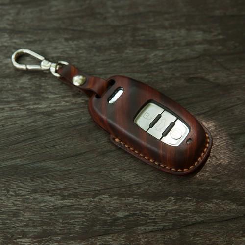 Bao khóa A5 - Audi - dòng xe audi - vân gỗ đậm - da bò thật MC103
