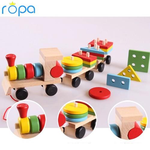 Đồ chơi gỗ, Đồ chơi tàu kéo thả hình khối cho bé