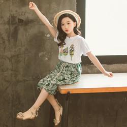 Set bộ đồ bé gái thun-cotton AT8041 - váy màu xanh
