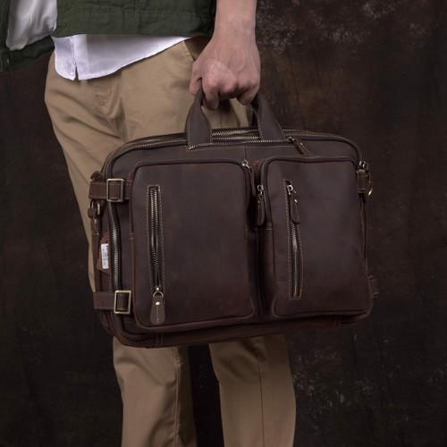 Túi xách nam da bò sáp nhiều ngăn đa năng