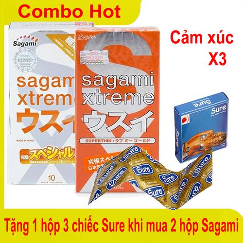 Mua 2 hộp BCS Sagami Nhật Super thin và Orange tặng hộp 3 BCS Sure USA