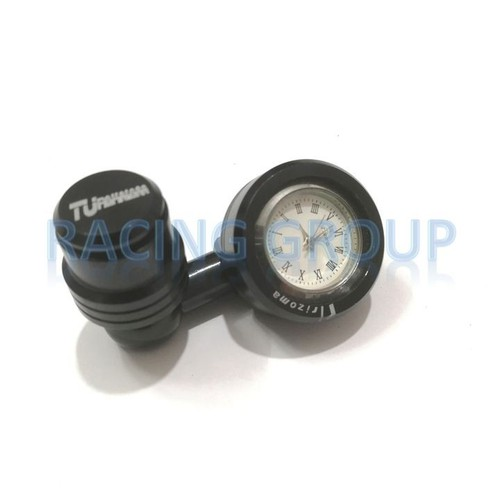 Đồng hồ gắn chân gương xe máy màu đen + tặng kèm ốc chụp chân gương