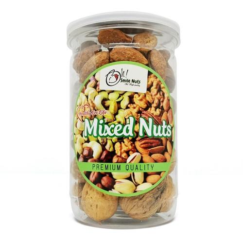 Hộp 400g Mix 3 loại hạt Smile Nuts Macca, Óc Chó, Hạnh Nhân rang bơ