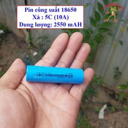 Pin sạc 18650 dùng cho máy khoan xe điện xả 10A dung lượng 2550 mAH màu xanh