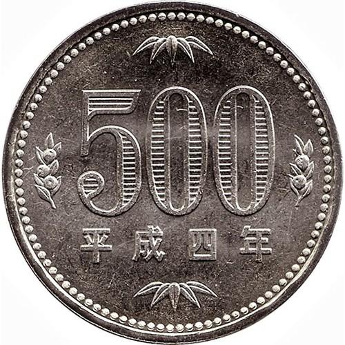 Đồng xu 500 yên Nhật - tiền xu sưu tầm - xu may mắn - tiền may mắn