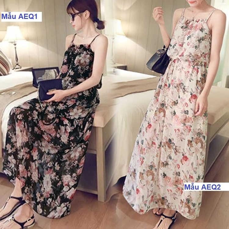 Váy nữ maxi hoa lá