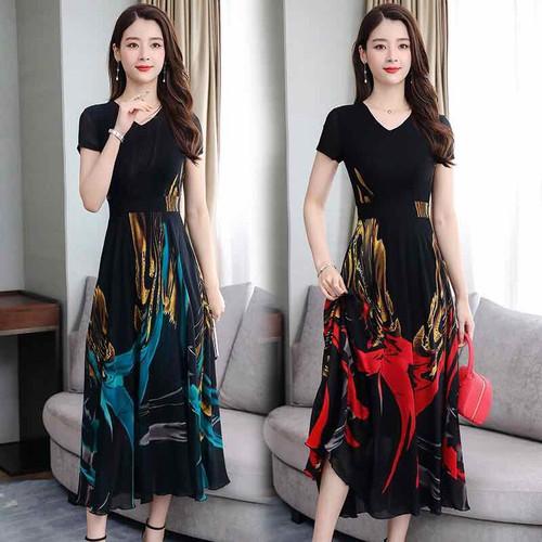Đầm voan nữ cao cấp thiết kế dáng dài họa tiết sang trọng