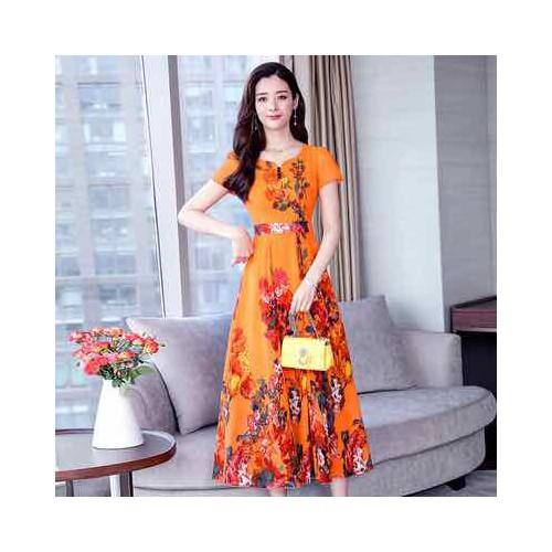 Đầm voan nữ cao cấp dáng dài phối hoa quyến rũ