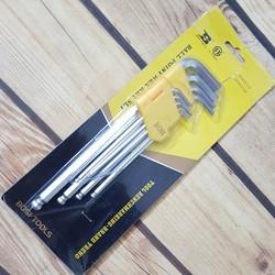 Bộ khóa lục giác chuôi bi 9 chi tiết bosi gồm các cỡ 1.5-2-2.5-3-4-5-6-8-10mm