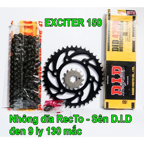 Sên DID đen 9 ly 130 mắc, Nhông dĩa RECTO 14 - 42 cho Exciter 150