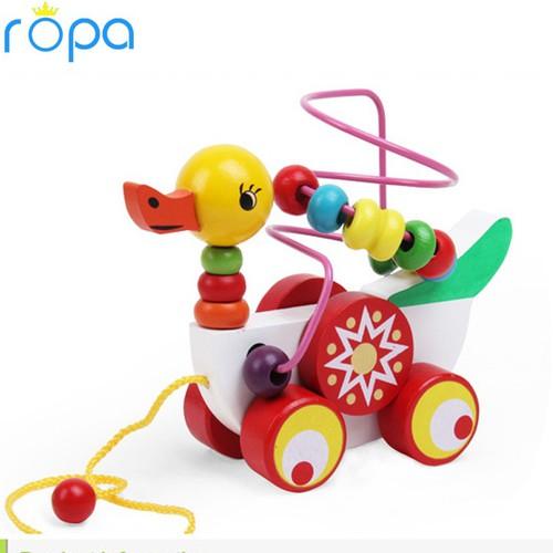 Đồ chơi gỗ, Đồ chơi xe kéo hình con vịt mê cung cho bé