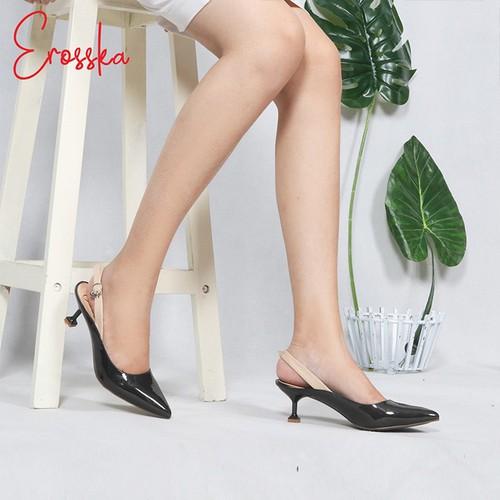 Giày Nữ, Giày Cao Gót Slingback Erosska Đế Nhọn Cao 5cm Kiểu Dáng Thời Trang EH022 Màu Đen-Đỏ-Nude-Xanh rêu