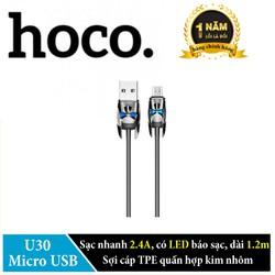 Cáp sạc Micro USB Hoco U30 dài 1.2m sạc nhanh 2.4A, có đèn LED báo sạc. Hãng phân phối chính thức