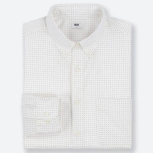 Áo sơ mi nam dài tay chấm bi màu 01 Off White mã 416902 - hàng nhập Nhật