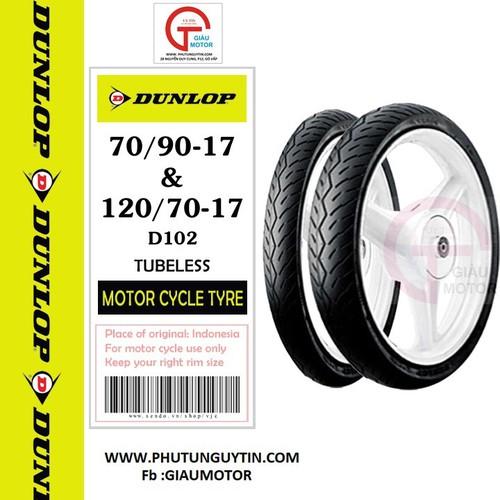 Combo cặp Lốp vỏ xe máy StarX hãng Dunlop size 70.90-17 và 120.70-17 D102