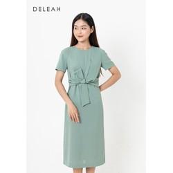 De Leah - Đầm Suông Xoắn Eo Nơ - Bạc hà