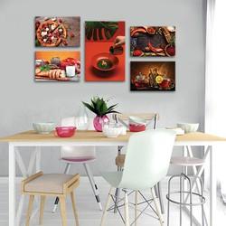 Bộ 5 tranh nhà hàng, quán ăn - Tranh ẩm thực và trang trí