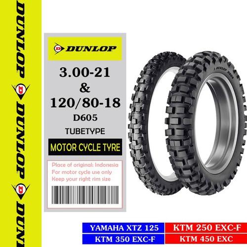 Combo cặp Lốp vỏ xe máy XTZ 125 hãng Dunlop size 3.0-21 và 120.80-18 D605