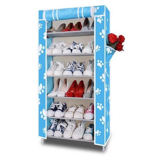 Kệ vải để giày 6 tầng khung inox không họa tiết
