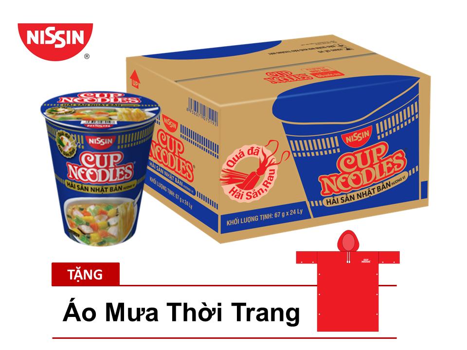 Thùng 24 Ly Mì Cup Noodles Nissin Hương Vị Hải Sản Nhật Bản Tặng Áo Mưa Thời Trang - CNSFRC