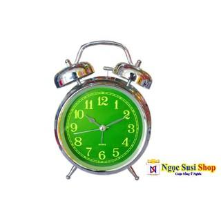ĐỒNG HỒ ĐỂ BÀN 2 CHUÔNG INOX CAO CẤP CÓ ĐÈN LED LOẠI ĐẠI - TẶNG PIN - đồng hồ 2 chuông inox đại thumbnail